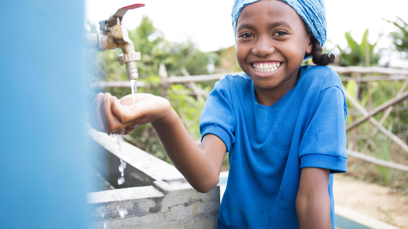 Neny, a student at a handwashing station in Madagascar.