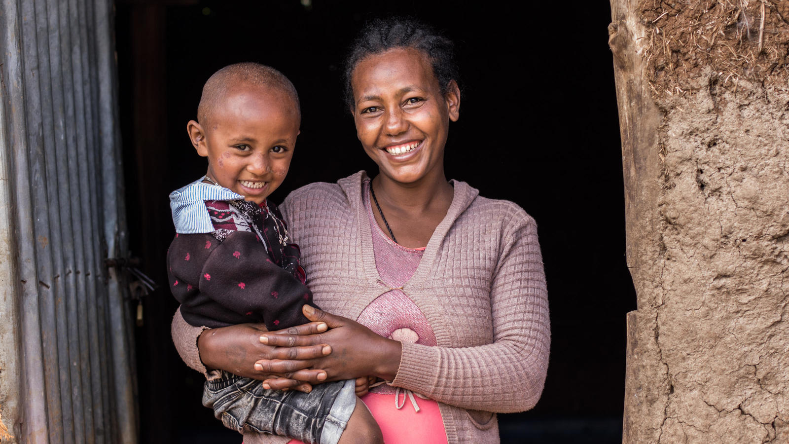 Tiru and her daughter at their house in Derkewa, Ethiopia. October 2020.