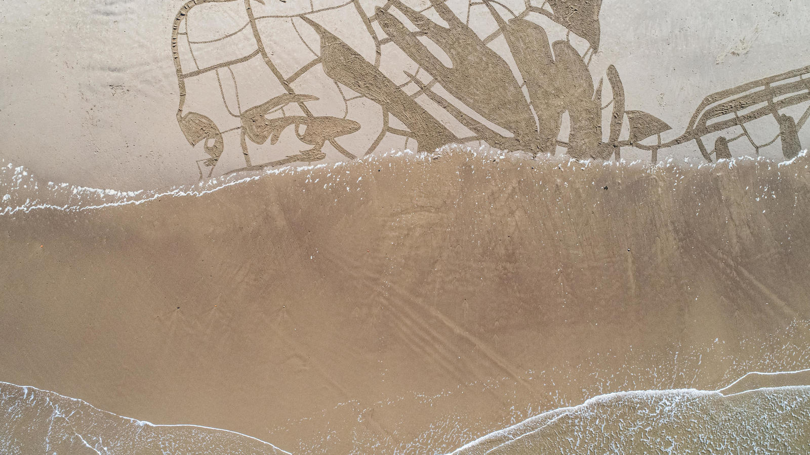 WaterAid created a giant sand portrait on Whitby Beach to show how climate change is impacting people's access to water and could make water perilously scarce for 1 in 4 children by 2040. March 2021