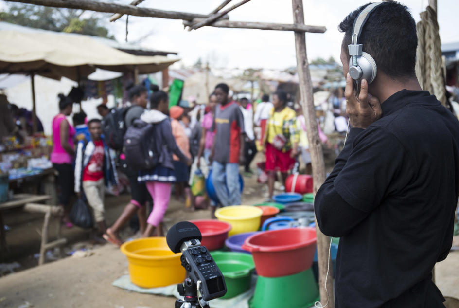 Ernest Randriarimalala, photographed while field recording sounds of a Malagasy rural market in Ambohidronono village.
