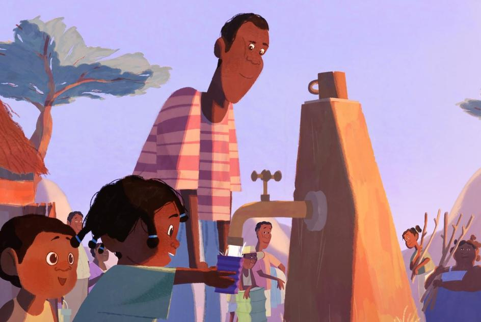 Illustration of Fara with her Father and Brother at the new water point