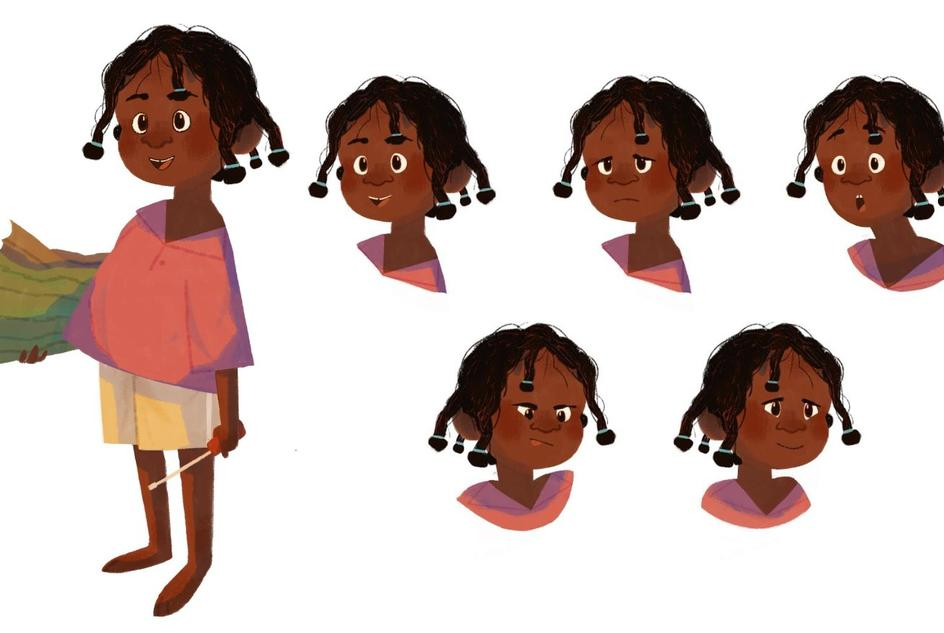Illustrations of Fara with different facial expressions