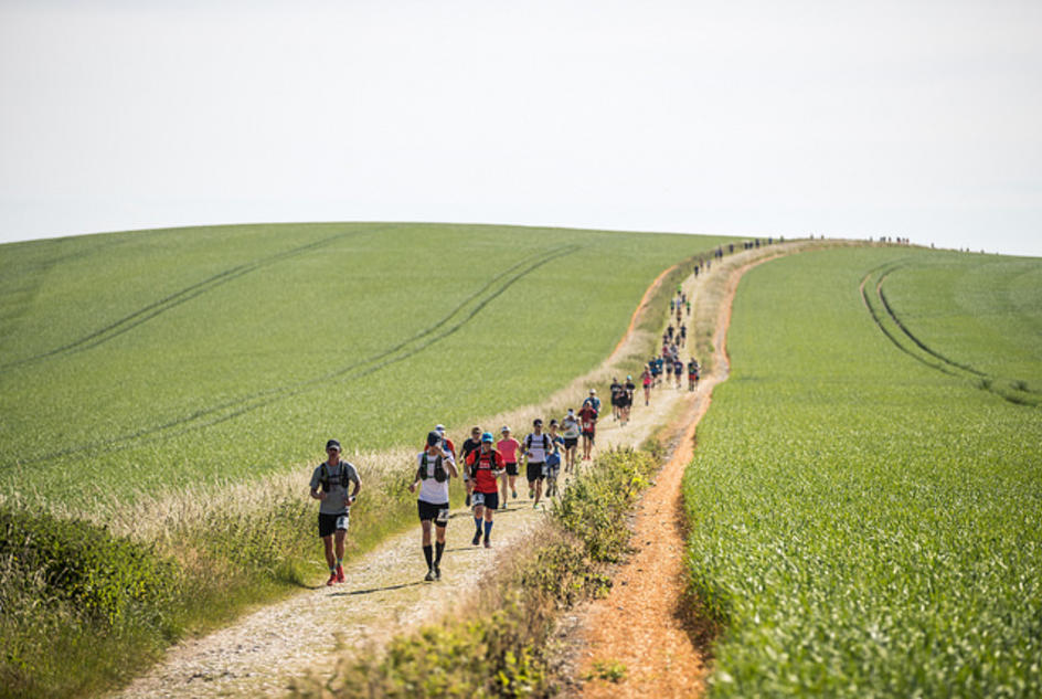 Runners running over the South Downs during Race to the King