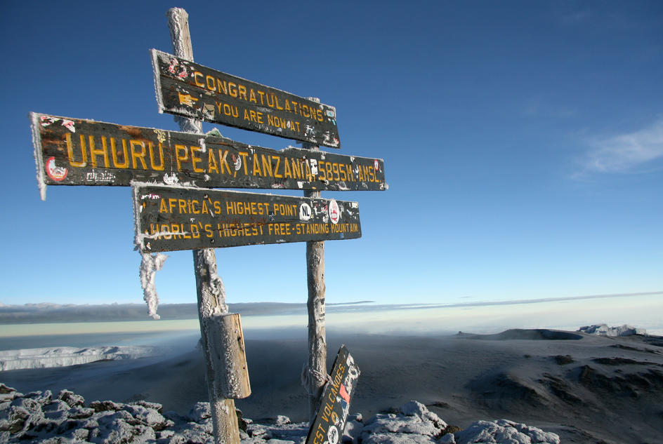 Signpost at the peak of Mount Kilimanjaro, the location for our trek challenge