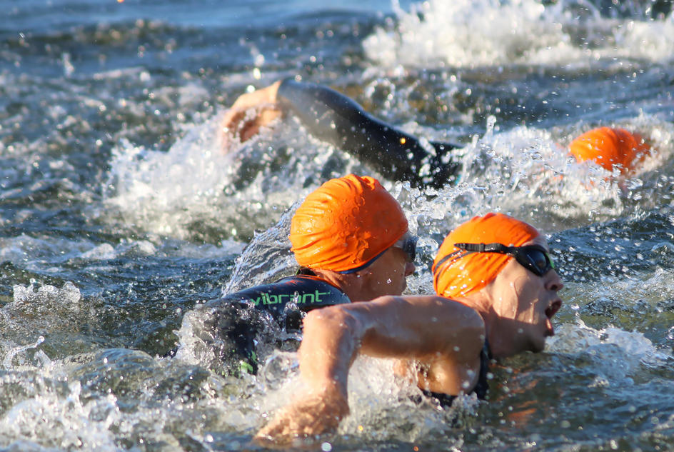 Swimmers in action during the Hanningfield Triathlon, which you can take on for charity.