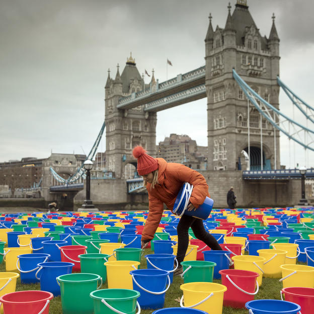 WaterAid creates a sea of buckets by the Thames to highlight the 800 children on average dying daily from diarrhoea caused by dirty water and poor sanitaiton