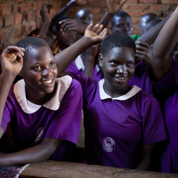 Students Sylivia and Joweria attend class in Eastern Uganda.