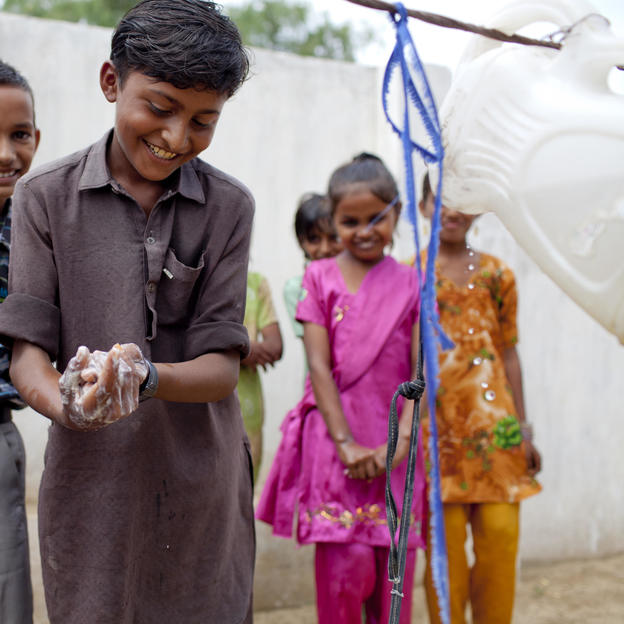 Anil learns the various steps involved in hand washing in  Pakistan.