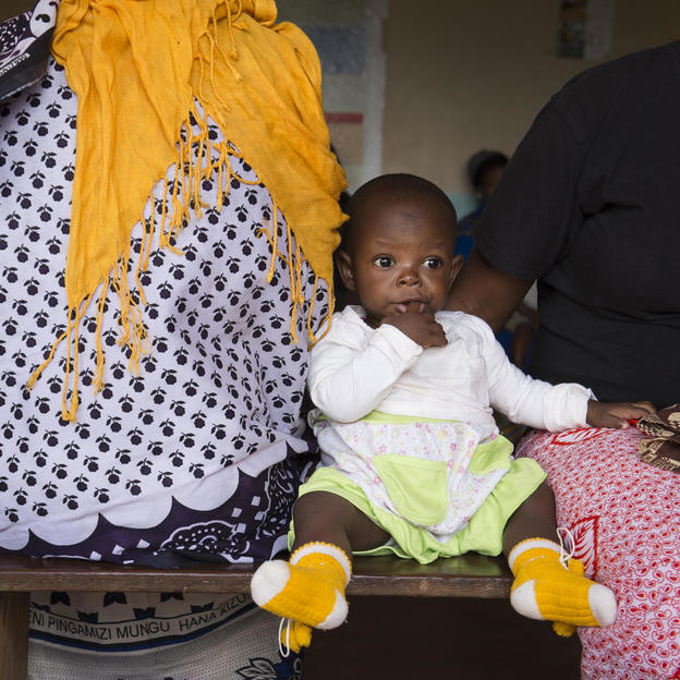 A young baby at a post natal clinic in Tanzania.