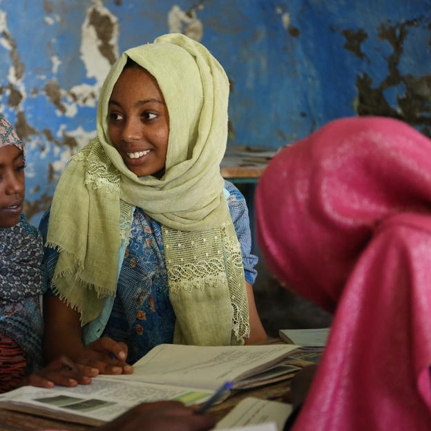Ikram, an eighth grade student and member of the Hygiene and Sanitation Club at her school in Ethiopia.