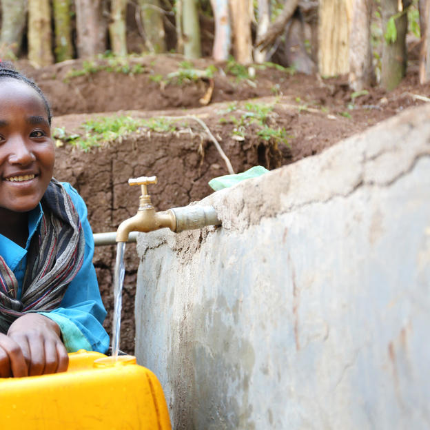 Tadelu now has access to clean water in her village. West Shoa, Ethiopia. 02 November 2016