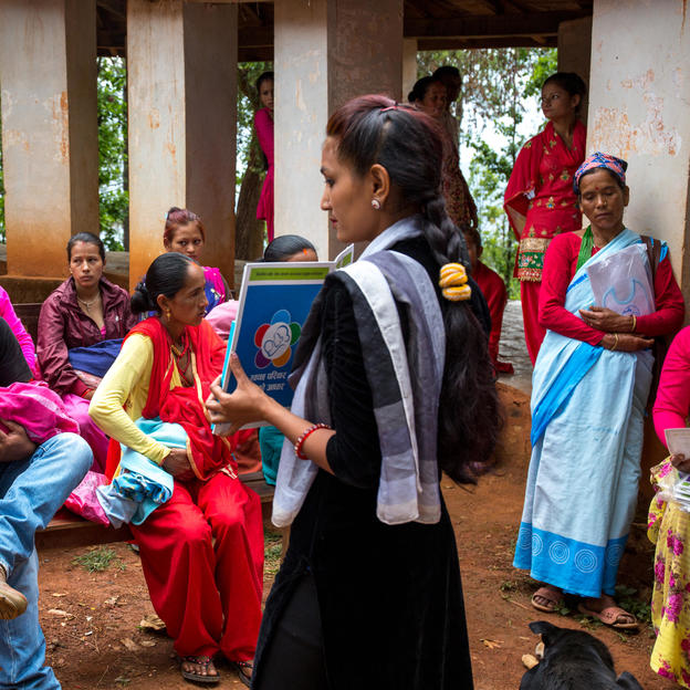 Female health volunteer conducts the hygiene session before immunisation at a Hospital in Jajarkot, Nepal