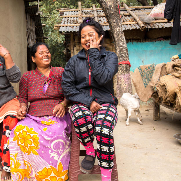 Har Sah, 48 (middle) with her daughter in law Sushila Sah, 26 (left) and daughter Amitra Sah, 23, Sunsari, Nepal, January 2018.