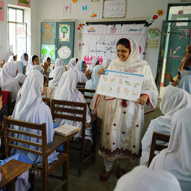Hygiene session being conducted in Government Girls High School Sinawan, Pakistan.