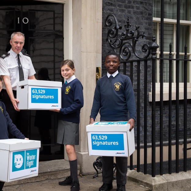 Children from Wyvil Primary School hand in The Water Fight Petition to 10 Downing Street, 22nd September 2017