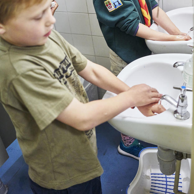 This Scout group took part in the Blue Hand Game to mark Global Handwashing Day.