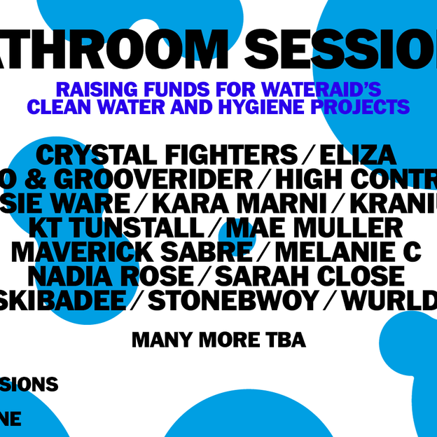 A line-up poster for online gig: bathroom sessions