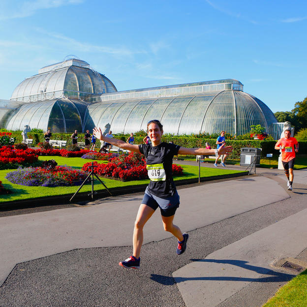 A runner running through Kew Gardens during the Richmond Marathon