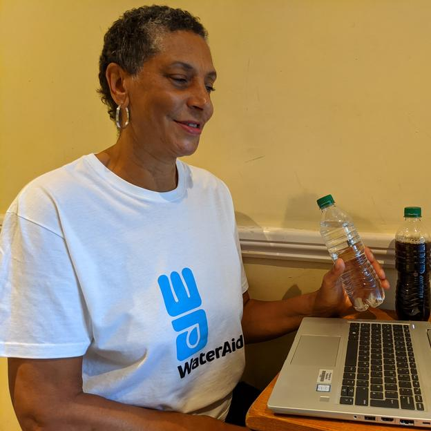 A WaterAid speaker delivers an online presentation
