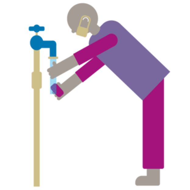 An illustration of a man collecting water from a tap