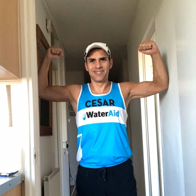 Cesar, a WaterAid supporter who ran the length of a marathon in his hallway!