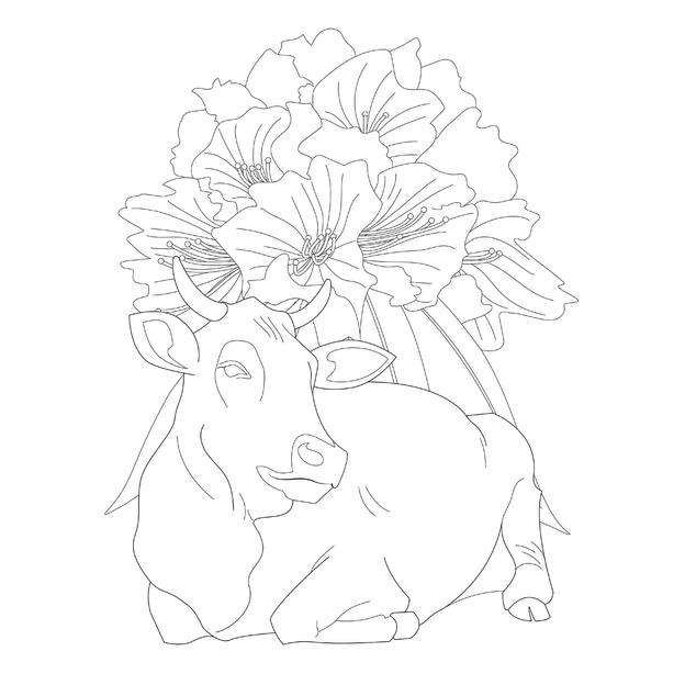 Cow and rhododendron illustration