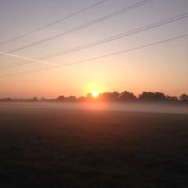 The sunrise over the field that Jo did her sponsored walk around
