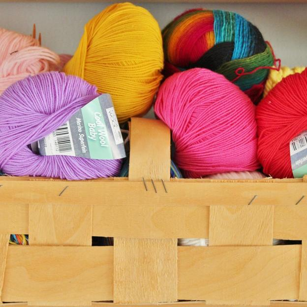 A box of wool to craft things with