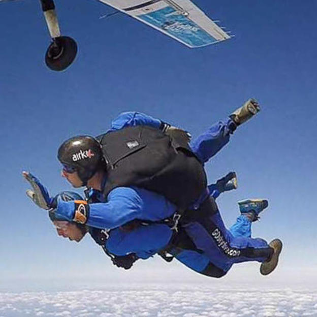 Somebody taking on a sponsored tandem skydive for charity