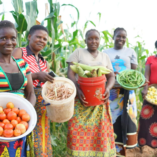 L-R: Ivy, Mary, Ivy and Florence, proudly displaying the various crops they have harvested in Milimo village.