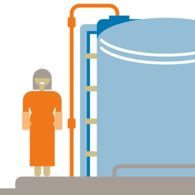 Illustration of woman at a water tank