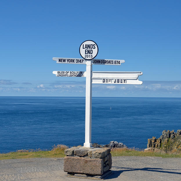 Signpost at Land's End, the starting point of the ultimate cycle race across the country