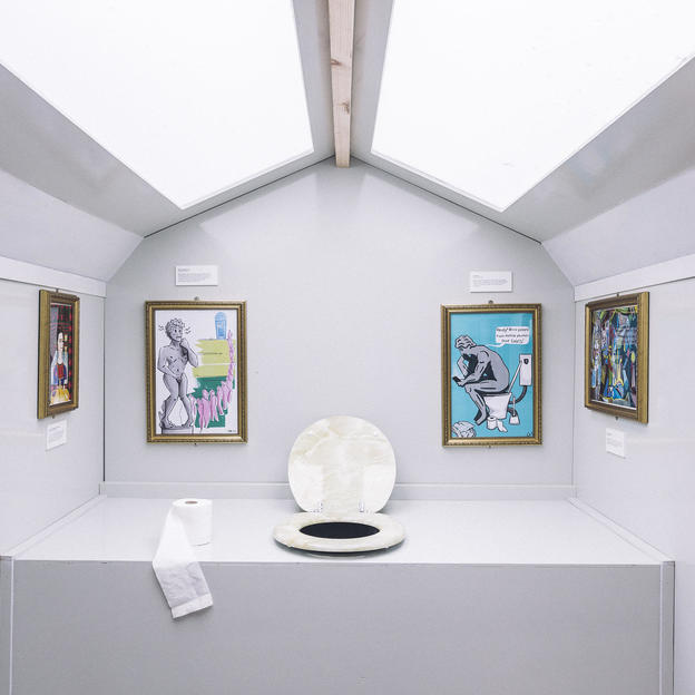 The interior of 'The Loovre' - WaterAid's flagship toilet at the 2019 Glastonbury Festival - probably the first ever art gallery in a toilet cubicle, at Glastonbury Festival, June 2019.