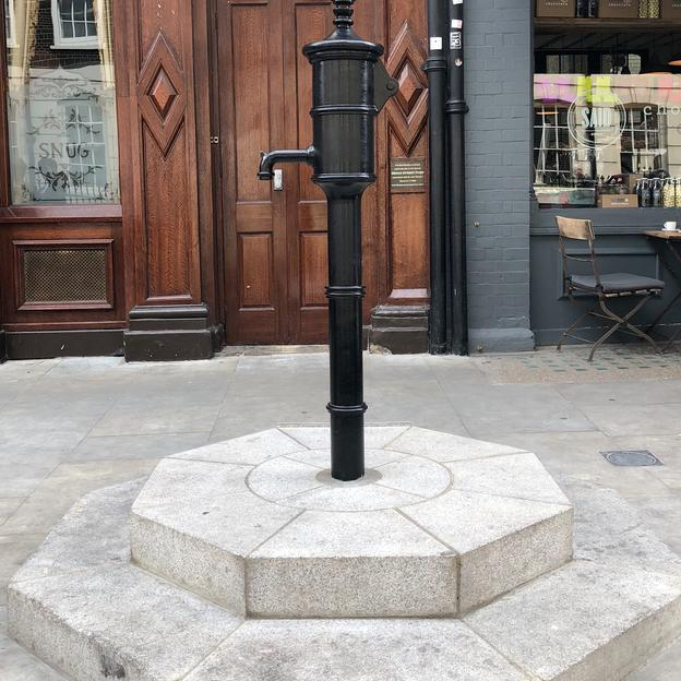 The John Snow Pump, marking the original pump that Dr Snow removed the hand of to prevent Cholera