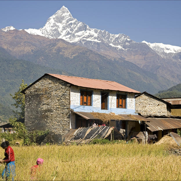 The mountains of Nepal, which you'll get to witness as part of the trek route