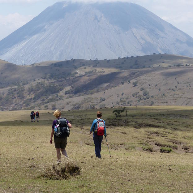 Trekking towards a mountain in Tanzania, as part of the Trek Tanzania challenge