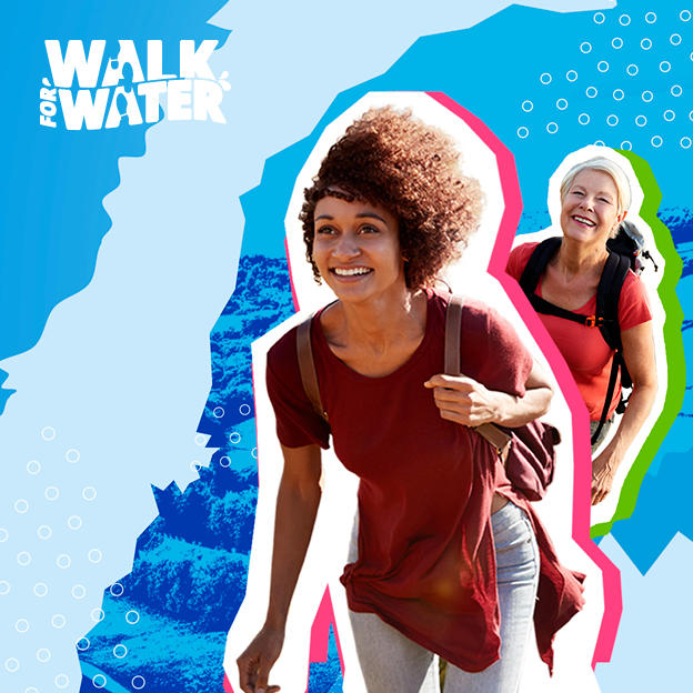Two women walking and the Walk for Water logo.