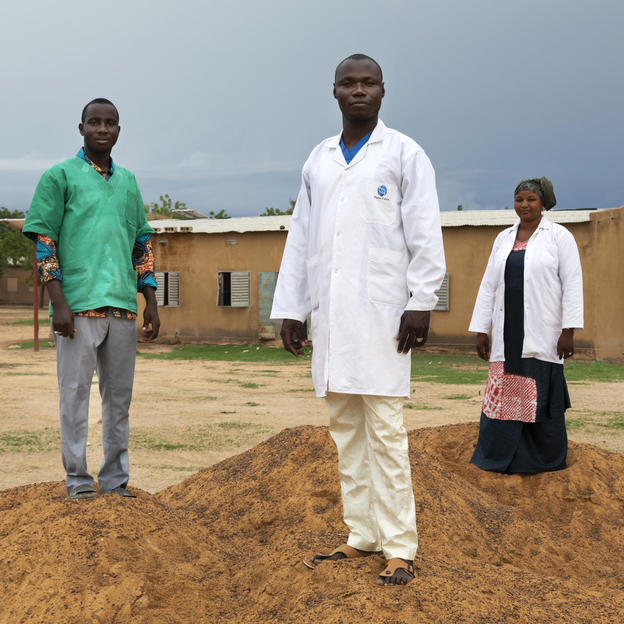 Pharmacist Madani Coulibaly, Dr Martin Koné, Health Director, and Matron Salimata Dagnogo, outside Talo Health Centre where they all work, Mali