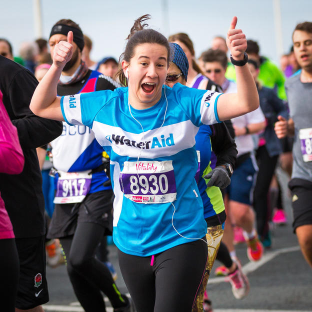 WaterAid runner at the Brighton Half Marathon, February 2016