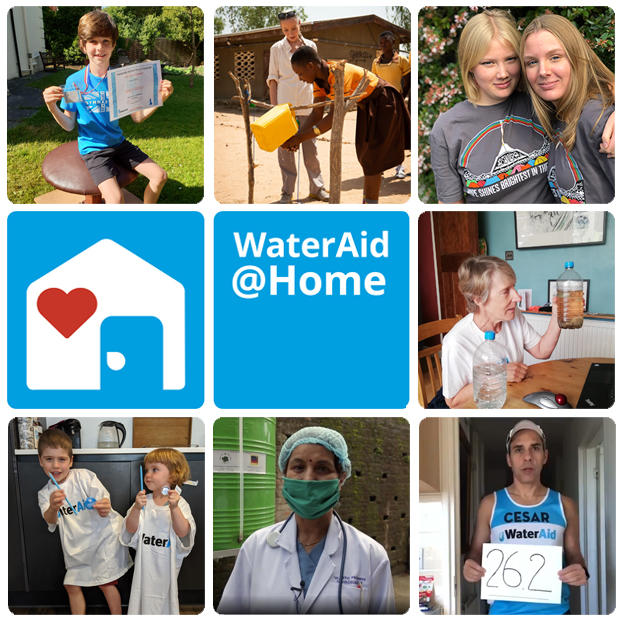 WaterAid@Home logo and images which will be featured in the broadcast: WaterAid's handwashing stations and WaterAid supporters.