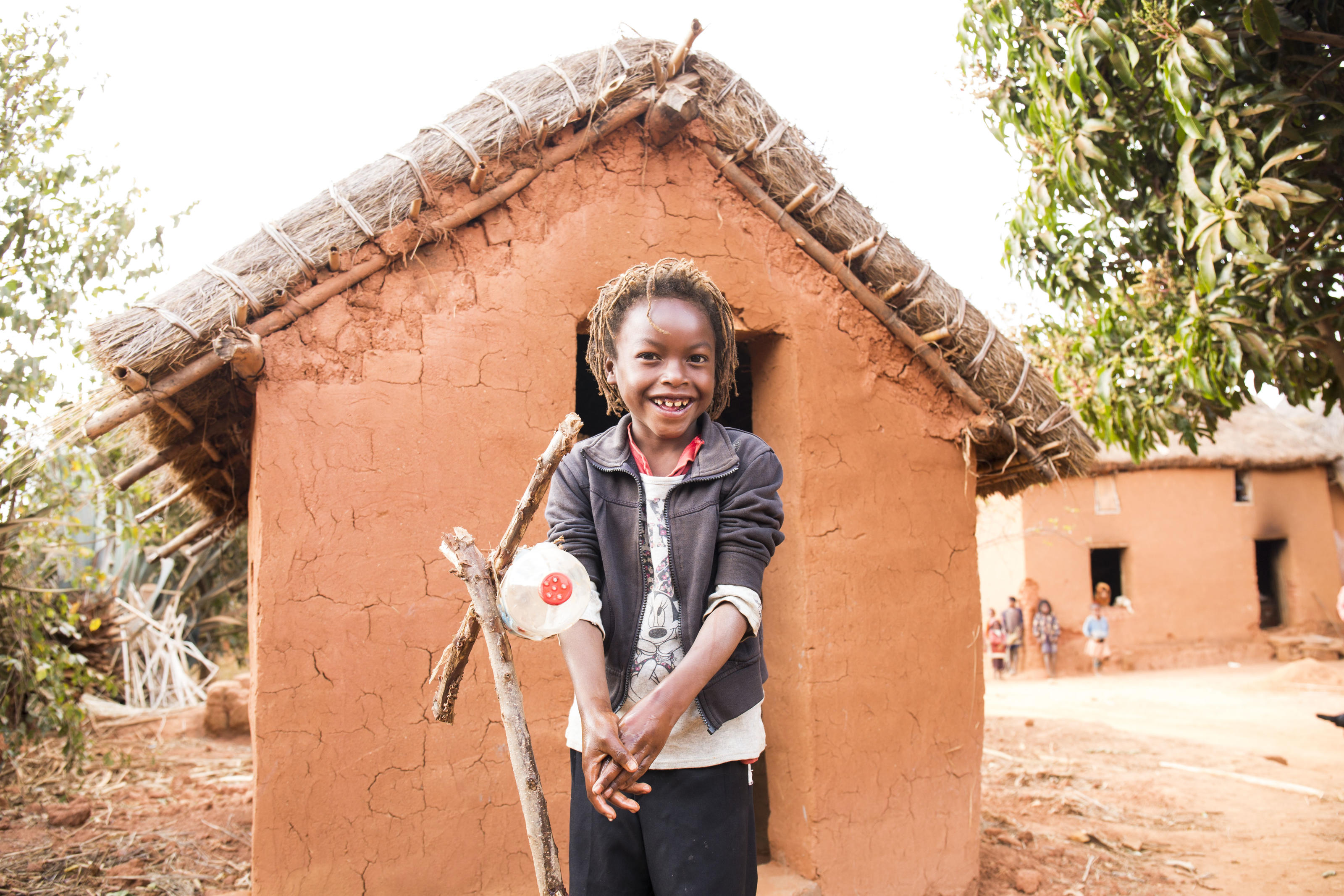 Toky, 6 uses a 'tippy tap' with clean water and soap.