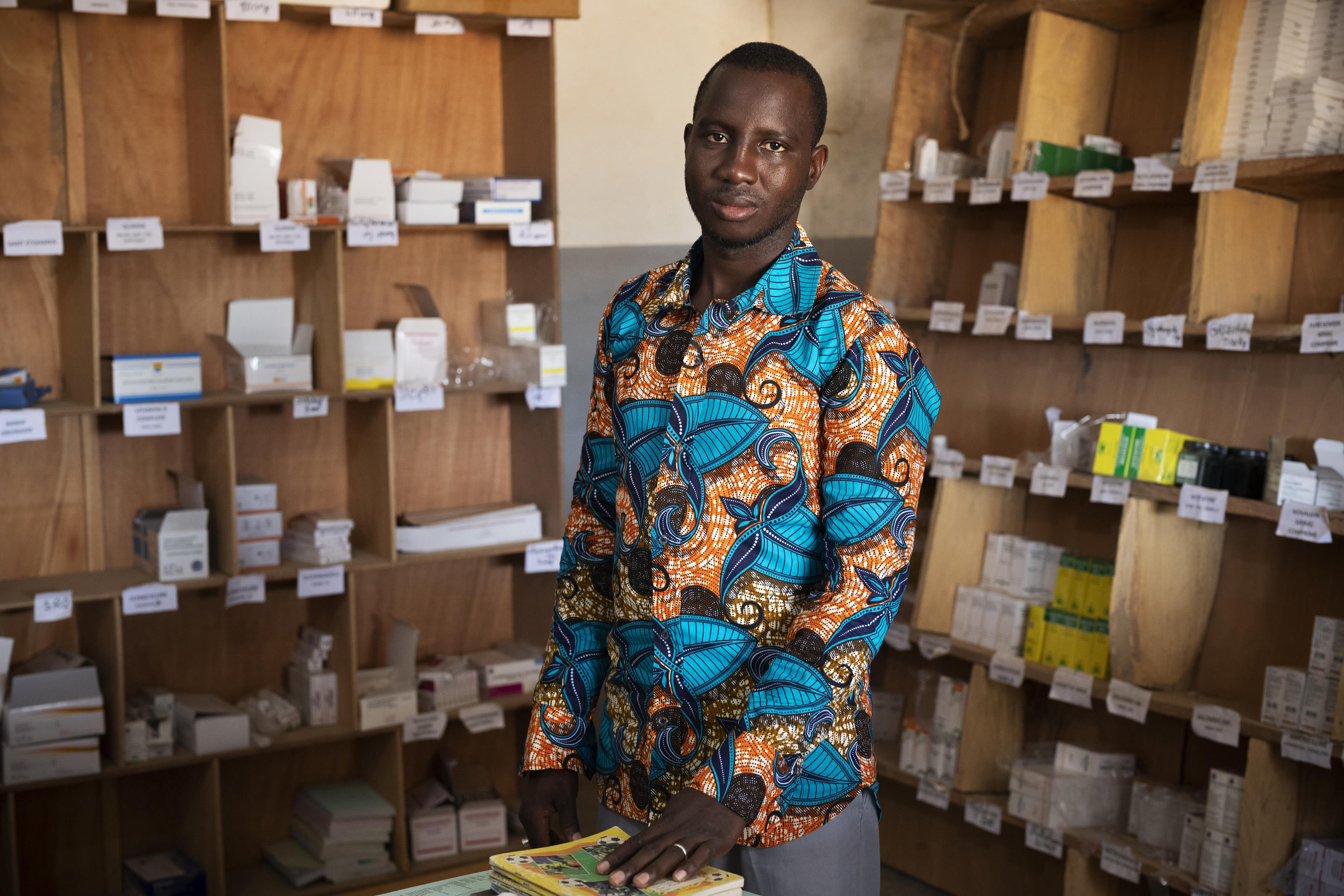 Madani Coulibaly, the pharmacist at Talo Health Centre, Mali. Photographed by Guilhem Alandry