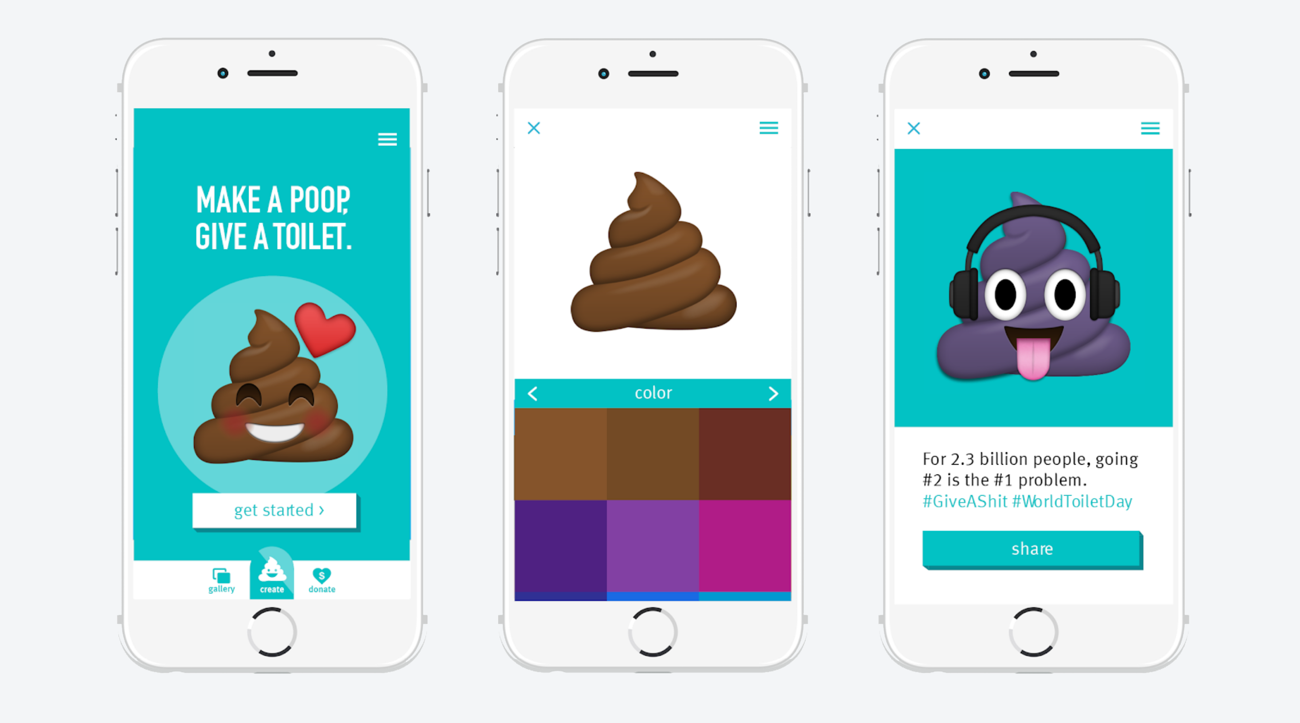 WaterAid poop emoji mobile application screenshots