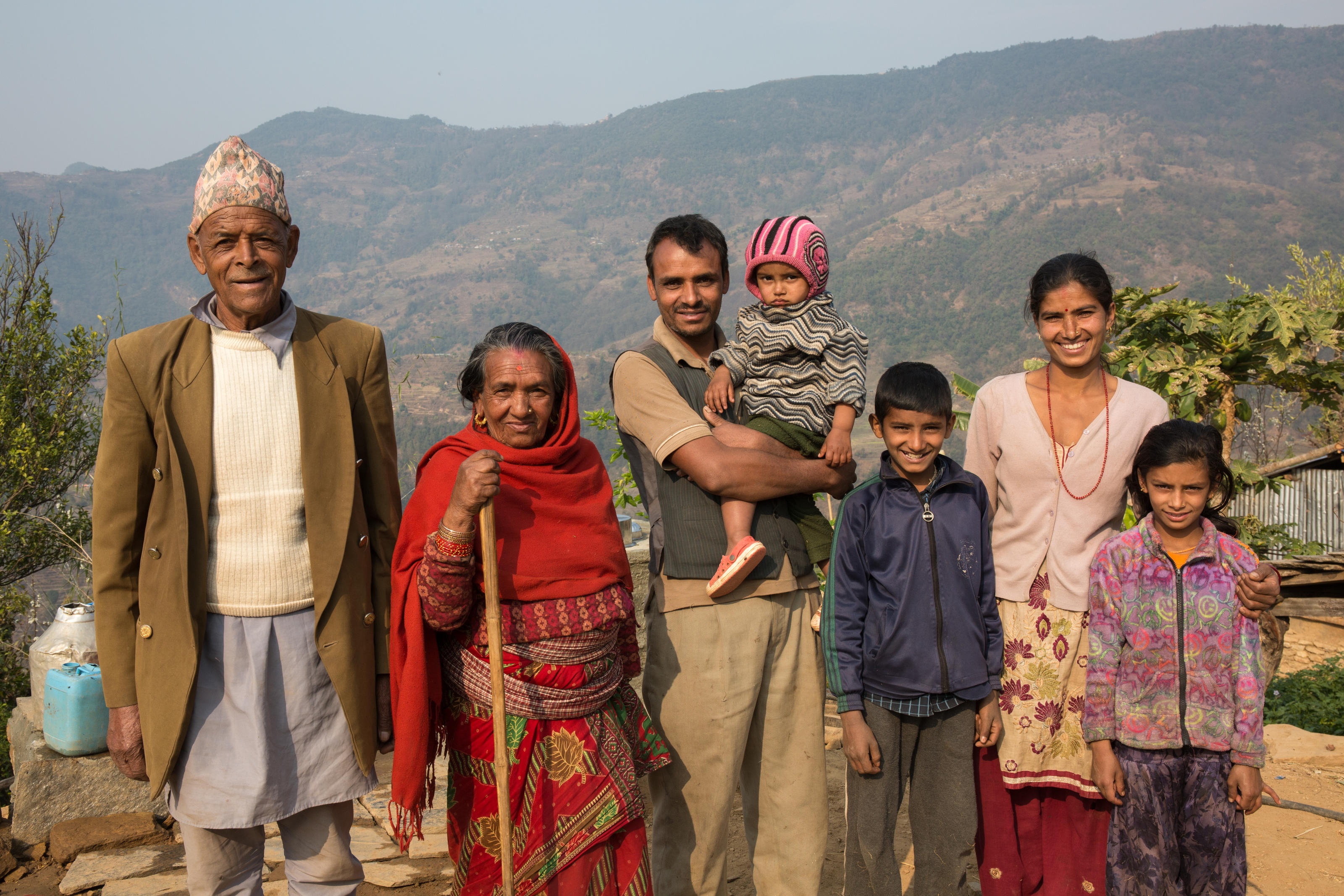 Humnath with his family. Gorkha, Nepal.