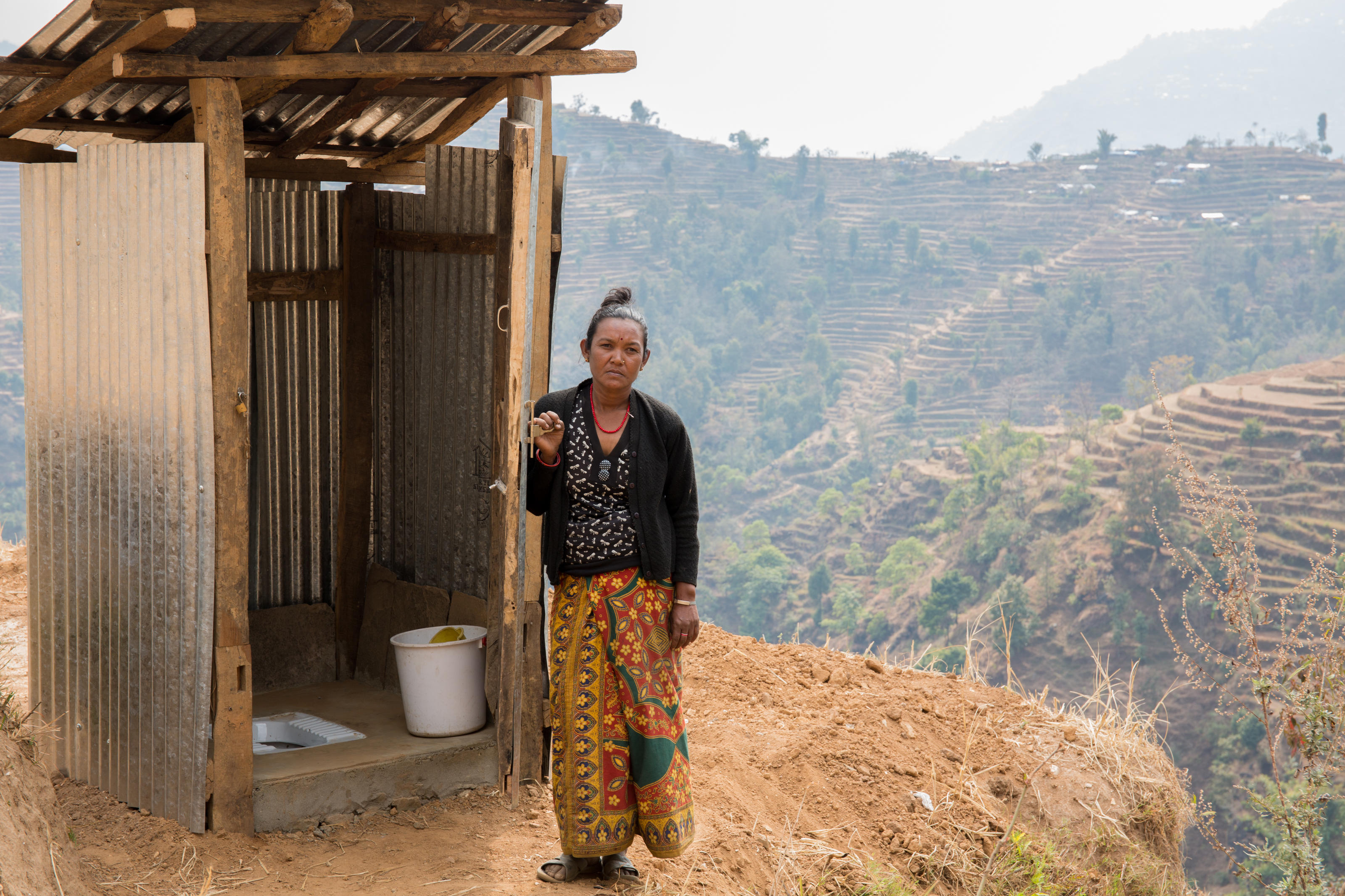 Bimaya has managed to build her toilet after getting help from WaterAid Nepal. Gorkha, Nepal.