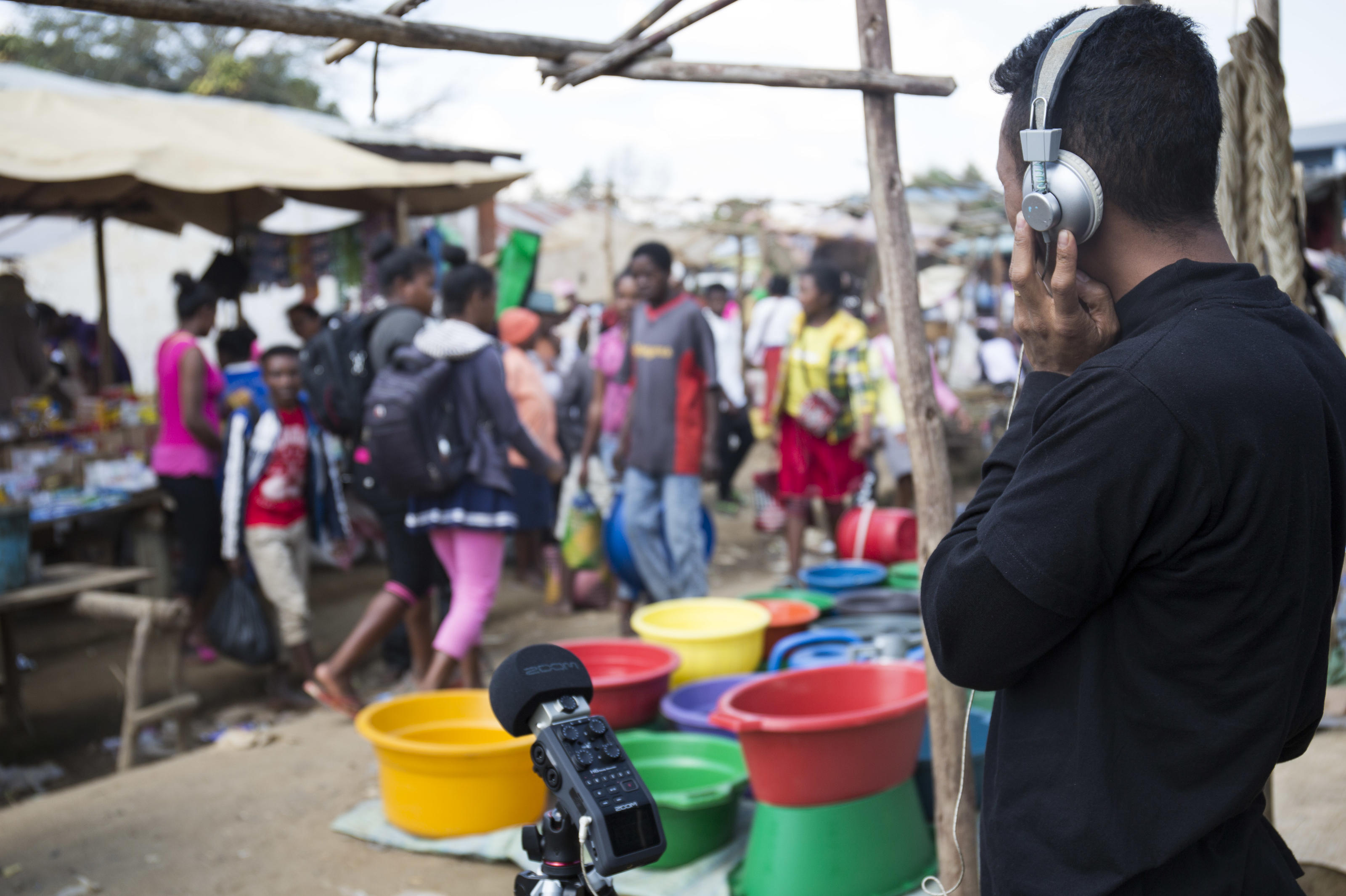 Ernest Randriarimalala, photographed while field recording sounds of a Malagasy rural market in Ambohidronono village, Ambohidronono commune, Moramanga district, Madagascar. August 2018.