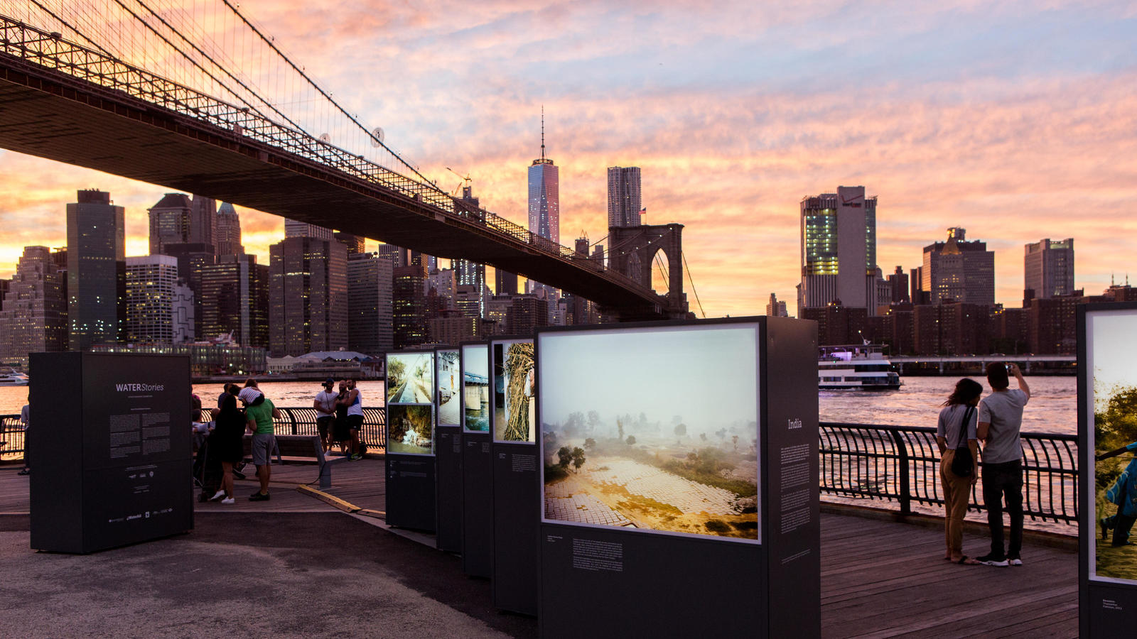 HSBC Water Program photography exhibit 'Water Stories' at Brooklyn Bridge, New York - September 2016.