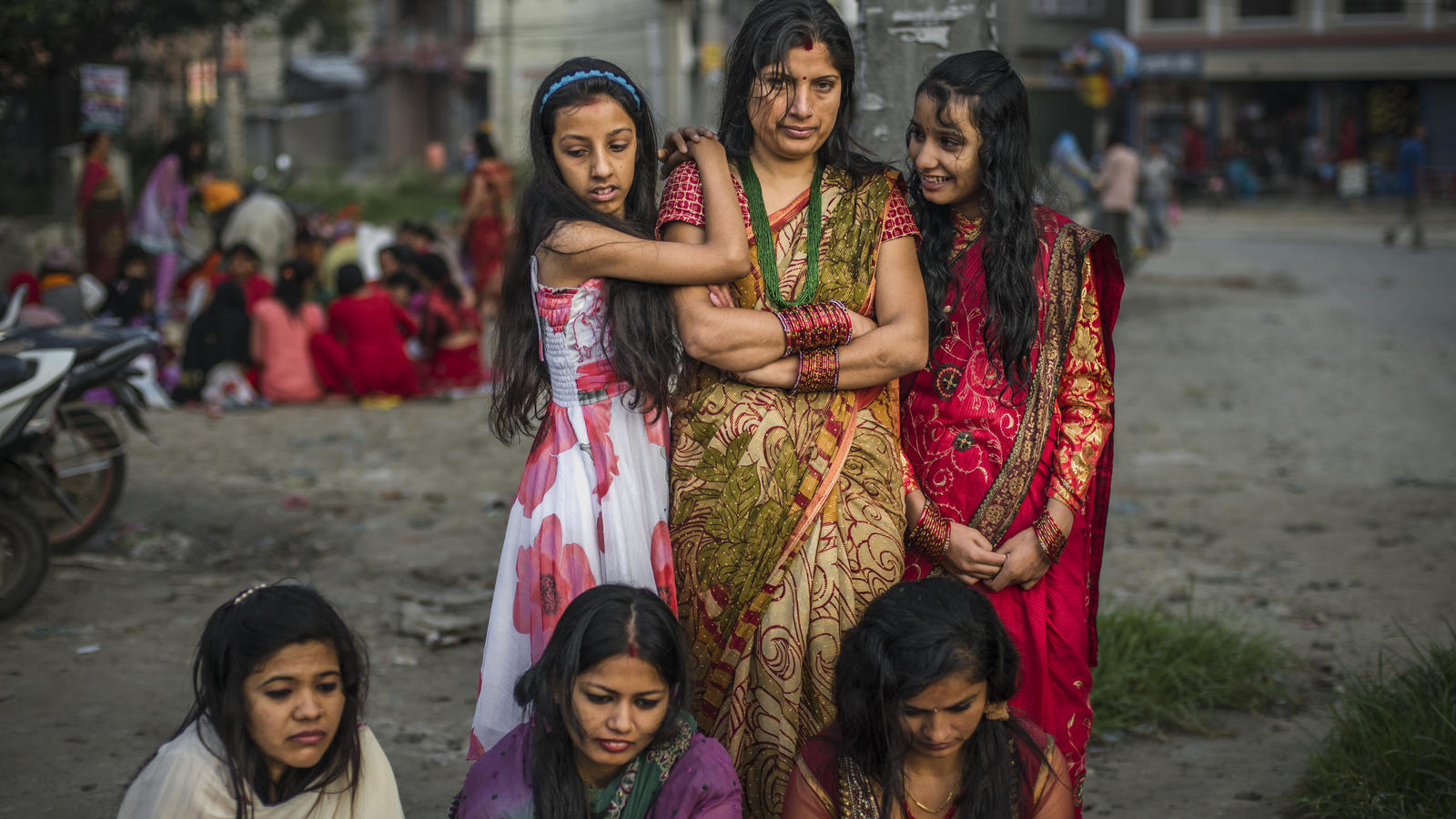 Women observing the ritual to wash away any sins committed during menstration at the annual Rishi Panchami festival, Kathmand, Nepal, 2013.