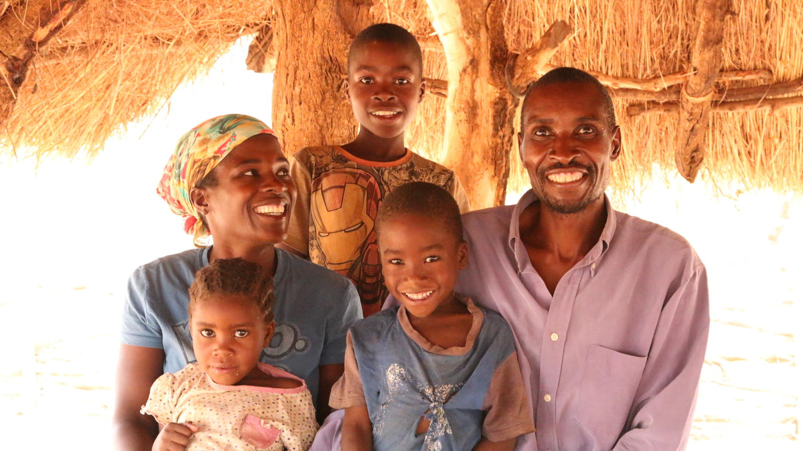Family photo for Paul Chasulwa the Community Health Worker for Chikuni Village. He was with his wife Sarafina, Sons Brian and Patrick and daughter Beatrice, Monze, Zambia Nov 16