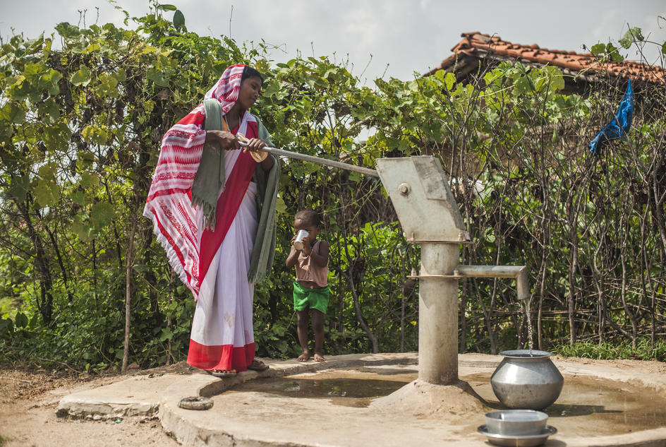 Sangita Devi, 25/26, collects safe, clean water from the handpump in Kauthiya Kewal Panchayat in the forest of Baradah, Bihar, September 2013.